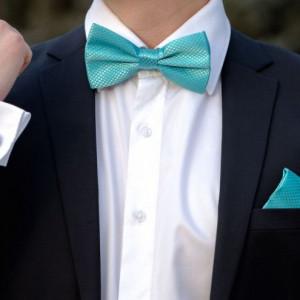 Set turcoaz papion, batista si butoni camasa
