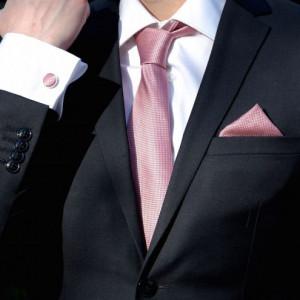 Set rose quartz cravata, batista si butoni camasa
