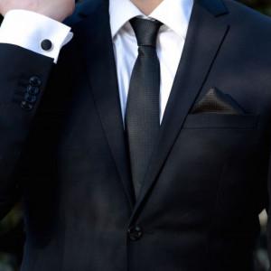 Set negru cravata, batista si butoni camasa