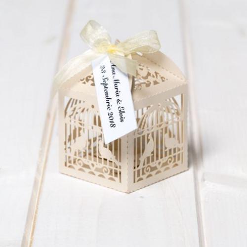 Marturii de nunta cutiute colivie ivory