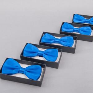 Set 5 papioane albastru satinat pentru cavaleri onoare