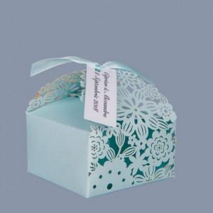 Marturii de nunta cutiute floare bleu