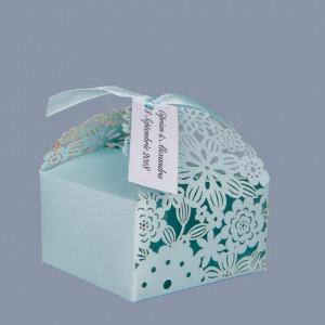 Marturii botez cutiute floare bleu