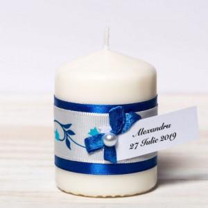 Marturii nunta lumanari banda albastra cu floricele si fundita alba