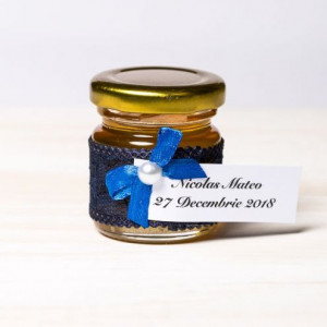 Marturii borcanele miere nunta dantela bleumarin