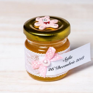 Marturii borcanele miere botez cu ursulet roz