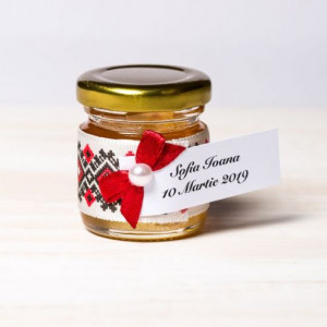 Marturii borcanele miere botez fundita grena si dantela cu motive traditionale