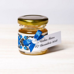 Marturii borcanele miere botez motive traditionale albastru