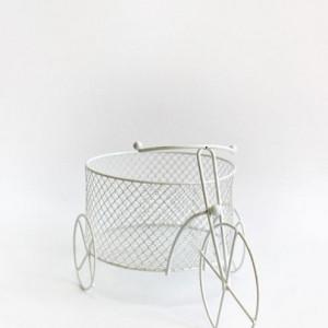 Decor bicicleta din sarma alba pentru botez, cos mare