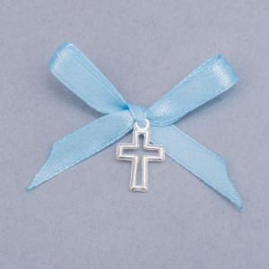 Cruciulite botez decupate cu fundita bleu