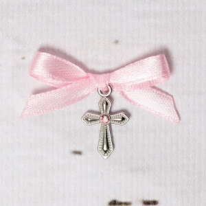 Cruciulite botez cu pietricica si fundita roz