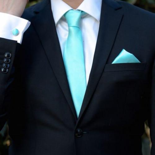 Set aquamarine cravata, batista si butoni camasa