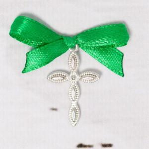 Cruciulite lacrima botez cu fundita verde