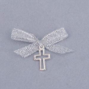 Cruciulite botez decupate cu fundita argintie