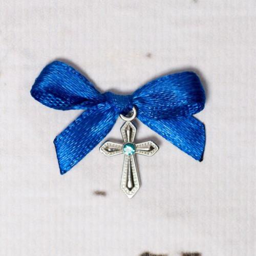 Cruciulite botez cu pietricica bleu si fundita albastra