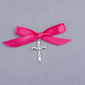 Cruciulite botez strass transparent si fundita roz fucsia