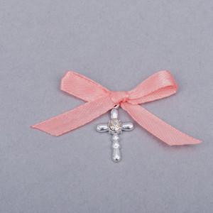 Cruciulite botez strass transparent si fundita roz pudra
