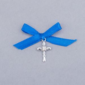 Cruciulite botez strass transparent si fundita albastra