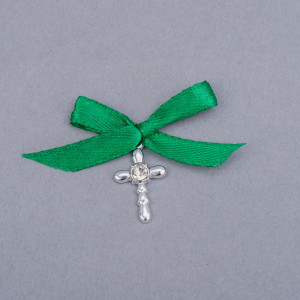 Cruciulite botez strass transparent si fundita verde