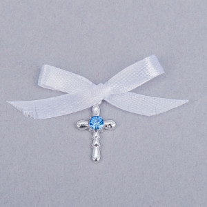 Cruciulite botez strass albastru si fundita alba