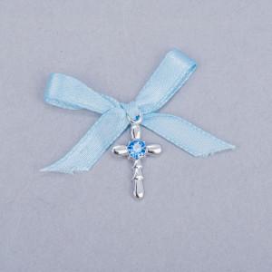 Cruciulite botez strass albastru si fundita bleu