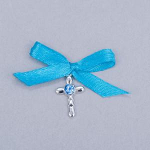 Cruciulite botez strass albastru si fundita turcoaz