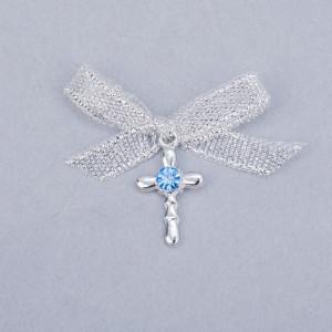 Cruciulite botez strass albastru si fundita argintie