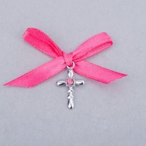 Cruciulite botez strass roz si fundita roz fucsia