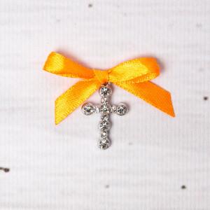 Cruciulite botez strassuri transparente si fundita portocalie