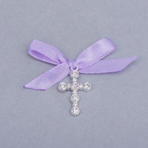 Cruciulite botez strassuri transparente si fundita lila