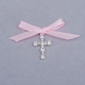 Cruciulite botez strassuri transparente si fundita roz