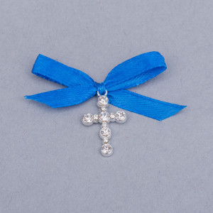 Cruciulite botez strassuri transparente si fundita albastra
