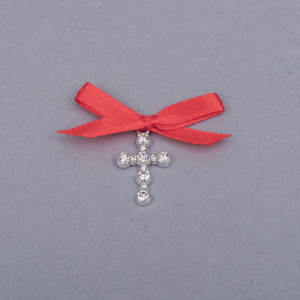 Cruciulite botez strassuri transparente si fundita rosie