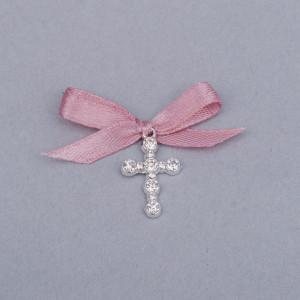 Cruciulite botez strassuri transparente si fundita roz prafuit