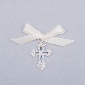 Cruciulite botez elegante cu fundita ivory