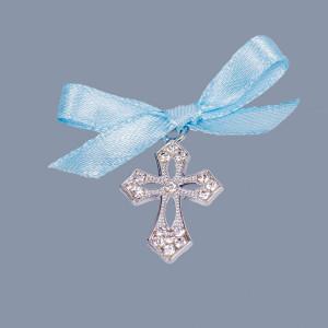Cruciulite botez elegante cu fundita bleu