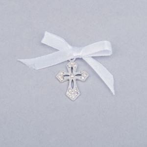 Cruciulite botez elegante cu fundita alba