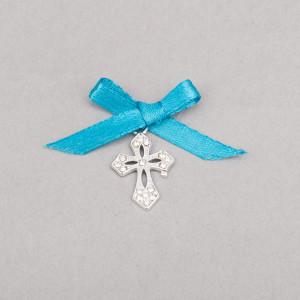 Cruciulite botez elegante cu fundita turcoaz