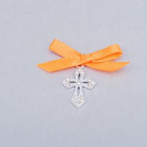 Cruciulite botez elegante cu fundita portocalie