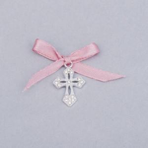 Cruciulite botez elegante cu fundita roz prafuit