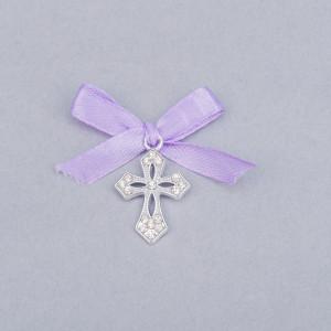 Cruciulite botez elegante cu fundita lila