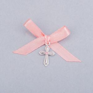 Cruciulite botez cu pietricica roz si fundita piersica