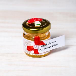 Marturii botez borcanele miere dantela alba si ciupercuta