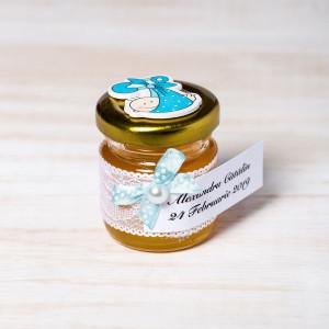 Marturii botez borcanele miere cu figurina bebelus