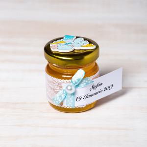 Marturii botez borcanele miere cu barza bleu