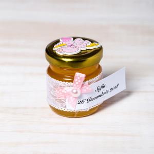 Marturii botez borcanele miere cu barza roz