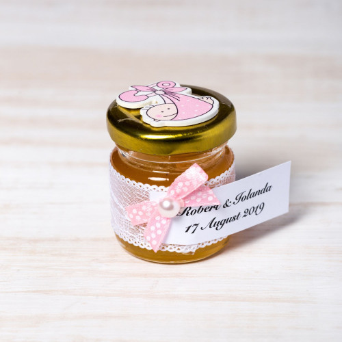 Marturii botez borcanele miere cu figurina bebelus roz