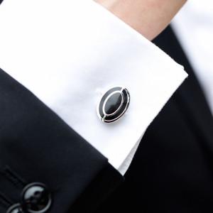 Butoni camasa ovali interior negru