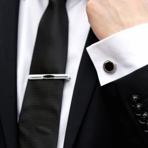 Set butoni camasa si ac cravata cu negru in mijloc
