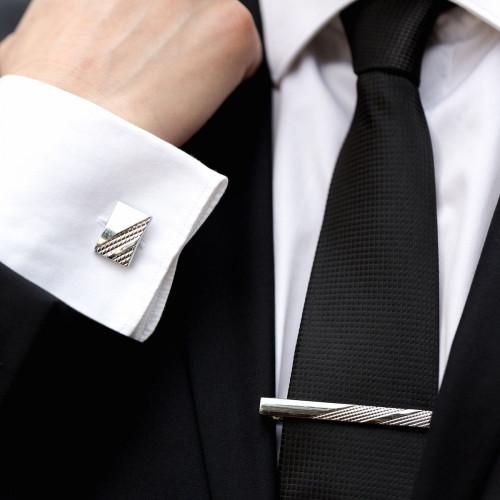Set butoni camasa dreptunghiulari si ac cravata cu model